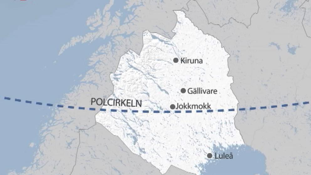 Polcirkeln ligger på latituden 66°33′47.8″ N